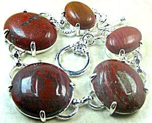 Wide Red Jasper Bracelet Sterling Silver