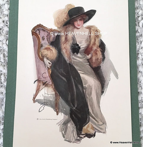 1910's Vintage Harrison Fisher Print Sultry Edwardian Lady Fashion Hat