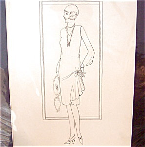Vintage Art Deco Flapper: Ladies Fashion Pen & Ink Drawing