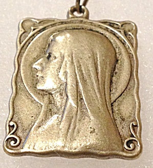 Vintage French Medal Our Lady of Lourdes Saint Bernadette Religious Jewelry