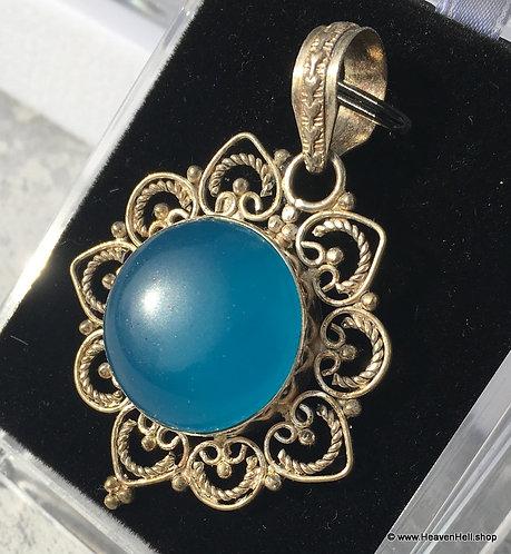 Vintage Angel Blue Chalcedony Filigree Pendant Sterling Silver Jewelry