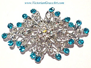 Large Brooch Turquoise Blue Clear Rhinestone Costume Jewelry