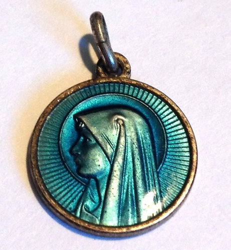 Religious Jewelry Vintage Guilloche Blue Enamel Virgin Mother Mary Lourdes Medal