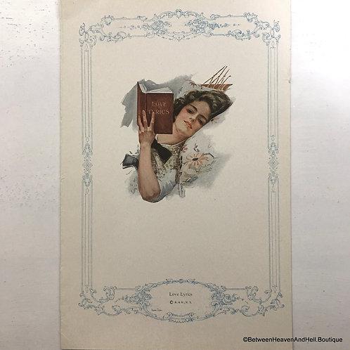 1913 Vintage Print Edwardian Lady Reading, Shabby Cottage Decor, Harrison Fisher