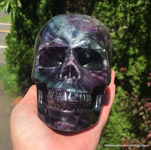 """5.3"""" Large Fluorite Skull Activated Psychic Ability Spiritual Realm Spirit Guide"""