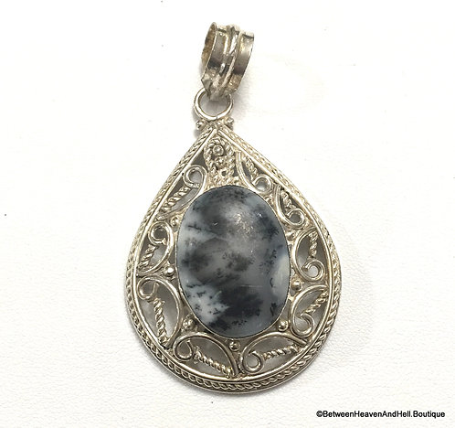 "2.5"" Dendritic Agate Sterling Silver Pendant Merlinite Abundance, New Beginnings"