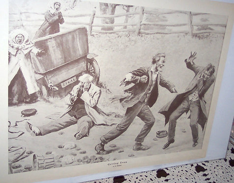 Vintage Ab Frost Print Country Farm Scene Getting Even Men Fighting