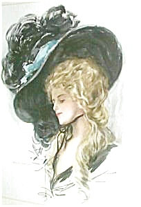 Harrison Fisher Victorian Lady Huge Feather Hat Print