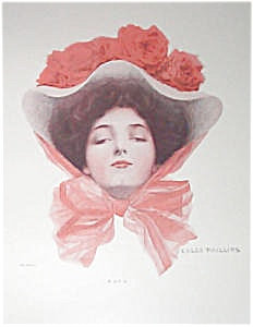 Coles Phillips Fade Away Girl Print Lady Red Rose Hat