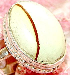 White Jasper Sterling Silver Ring Size 9.75