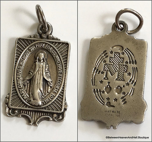Vintage Art Deco Sterling Silver Miraculous Medal Virgin Mary Pendant Charm