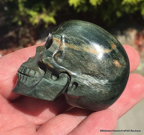 Rare Prosperity Activated Green Tiger Eye Skull, Hawk's Eye Crystal Skull