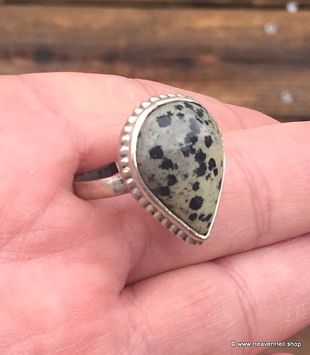 Vintage Dalmatian Jasper Sterling Silver Ring Psychic Protection Jewelry