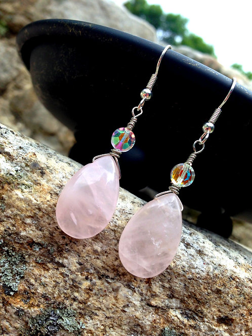 OOAK Wire Wrapped Earrings Rose Quartz Gemstone & AB Wash Faceted Glass Beads