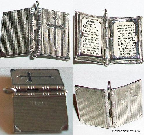 Tiny Vintage Religious Locket Pendant Lords Prayer Cross Charm Religious Jewelry