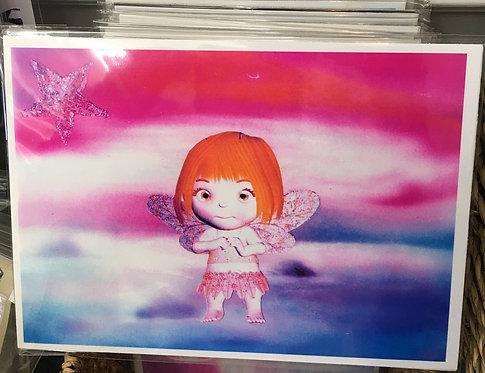 Girl's Wall Decor 5x7 Art Misty Beach Fairy Print - Red Hair