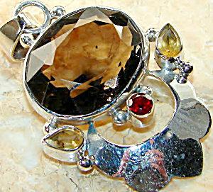 Natural Gemstone Jewelry: Big Faceted Smoky Quartz Pendant