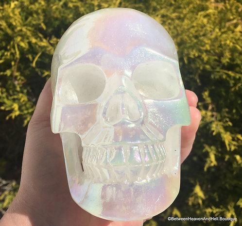 "5"" Large Mystic Angel Aura Skull Quartz Crystal Psychic Abilities Spirit Guides"