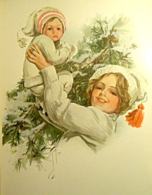 Antique Print A Happy New Year Mother & Baby Boy Harrison Fisher