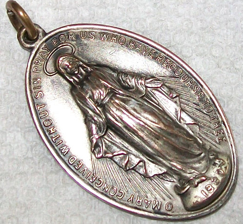 "1.5"" Large Mens Miraculous Medal Our Lady Of Grace Virgin Mary Religious Jewelry"