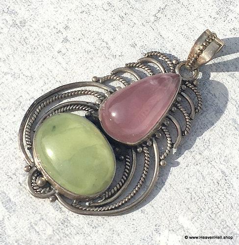 Vintage Prehnite And Rose Quartz Sterling Pendant BOHO Silver Jewelry