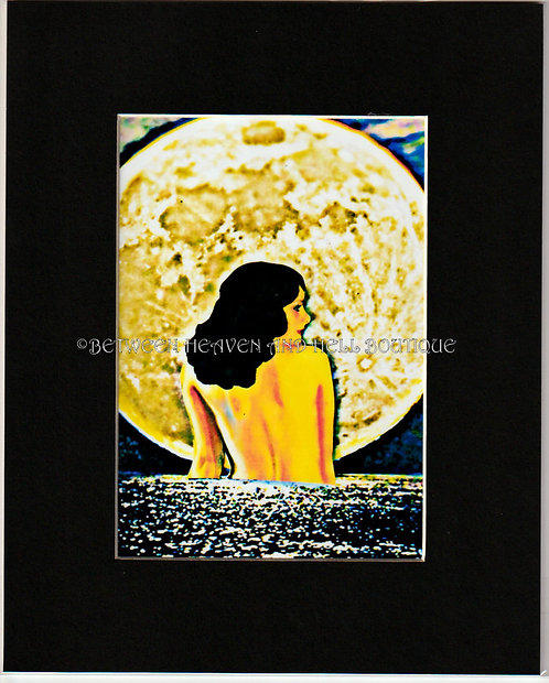 8x10 Metaphysical Golden Full Moon Print Art Deco Lady Midnight Moonlight Swim