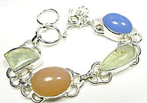 Bracelet Peach, Blue Chalcedony, Prehnite Sterling Silver