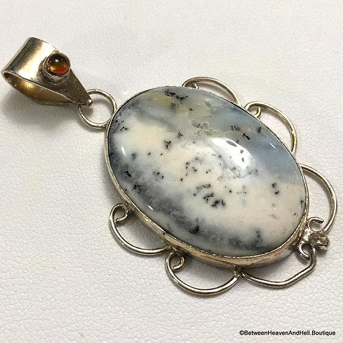Vintage Dendritic Opal Agate Pendant Merlinite Sterling Silver Jewelry