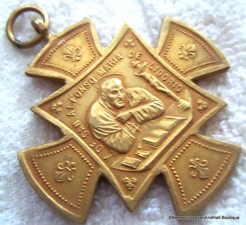 Vintage San Alfonse Holy Cross Medal Gold Pendant Healing Prayers for Arthritis