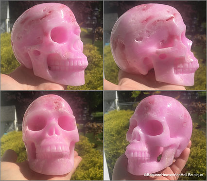 """5"""" Druzy Pink Aragonite Crystal Skull Activated Spirit Guide & Angelic Contact"""