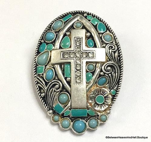 "2.5"" Large Turquoise Pendant Enamel Rhinestone Cross Costume Jewelry"