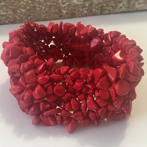 Chunky Boho Chic Gemstone Bracelet, Red Agate Handmade Jewelry