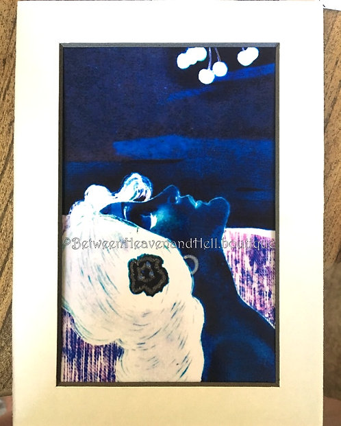 5x7 Midnight Moonlight Goddess Art Deco Lady Giclee Print Between Heaven & Hell
