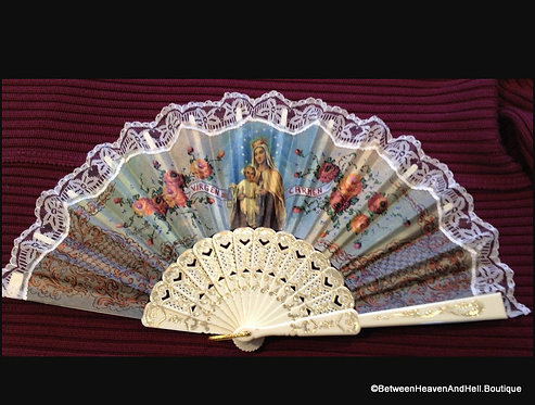 Catholic Decor: Our Lady Mount Carmel Virgin Mary Jesus Decorative Fan Spanish