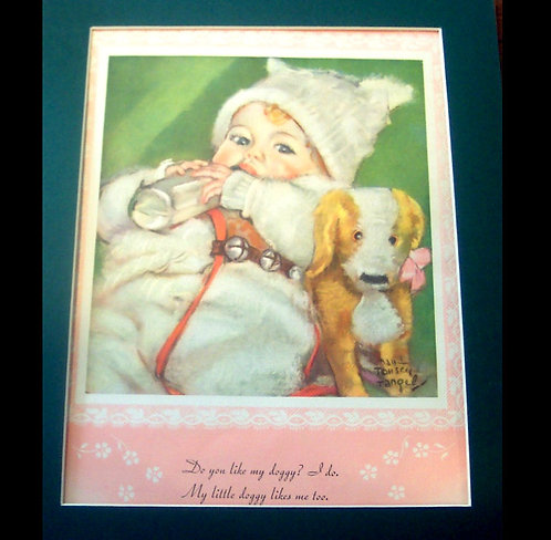 1933 Vintage Print Baby holding Bottle withDog ; Maud Tousey Fangel