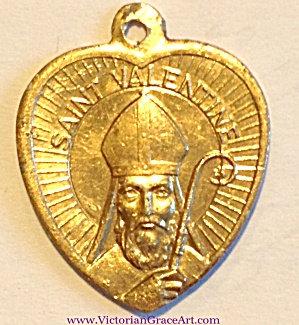 Vintage Saint Valentine Holy Medal Heart Pendant