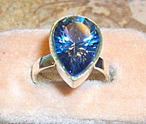 Pear Cut Blue Mystic Topaz Sterling Silver Gemstone Ring 8
