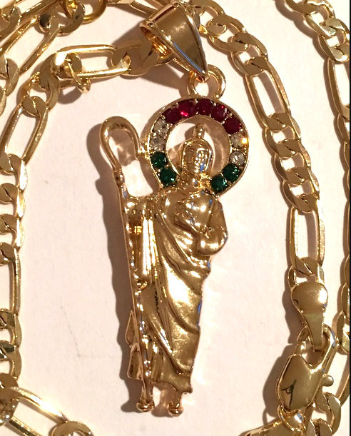 Large Catholic Saint Jude Necklace Red Green Clear Cz Stones