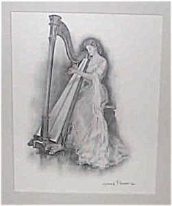 Antique & Vintage Prints: Lady & Harp : Clarence Underwood