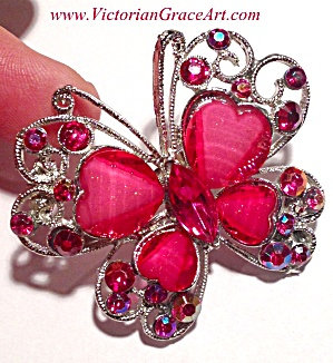 Rhinestone Costume Jewelry: Butterfly Fuschia Red Silver Brooch