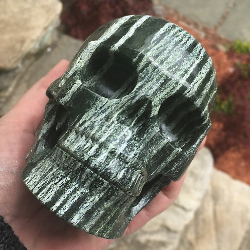Large Activated Chrysolite Crystal Skull Sculpture - Prosperity, Luck