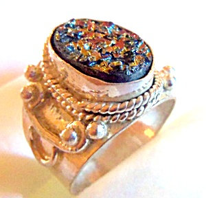 Titanium Drusy Ring Sterling Silver Wide Band 8