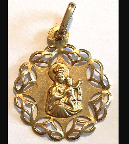 Vintage Italy 14k Gold Pendant Our Lady Of Mount Carmel Virgin Mary, Jesus