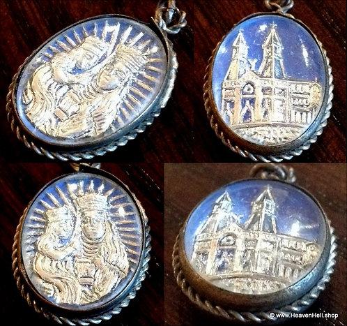 Vintage Religious Holy Medal Blue Mercury Glass Saint Anne Virgin Mary Pendant