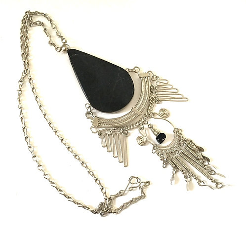 """Large Black Onyx Teardrop Necklace, 5.25"""" Long Drop Wire Wrapped, Silver"""