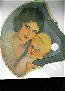 Vintage Print Fan Mother And Child Art Deco