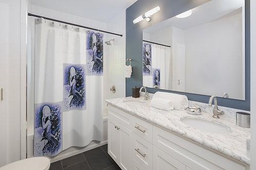 Chic Home Decor Shower Curtains Mermaid Art BOHO Bathroom Purple, White