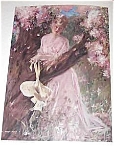 Antique Edwardian Lady In Pink Art Print Spring Of Love