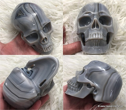 """5.1"""" Large Banded Smoky Blue Onyx Skull ACTIVATED Agate Skull Automatic Writing"""