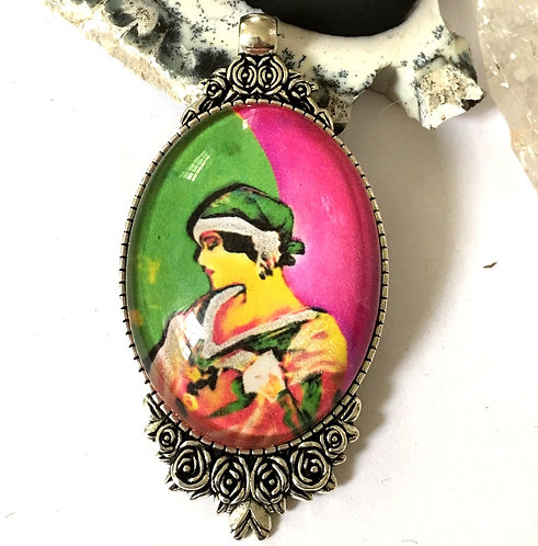 Handcrafted BOHO Chic Wearable Art Jewelry Deco Lady Cameo pendant